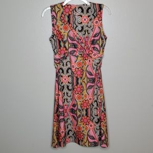 Prana M bright floral print faux wrap dress